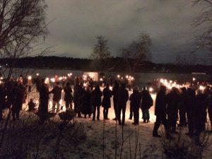 Slutmålet var Tivoli för fackeltåget från Kafé Sjöstugan.