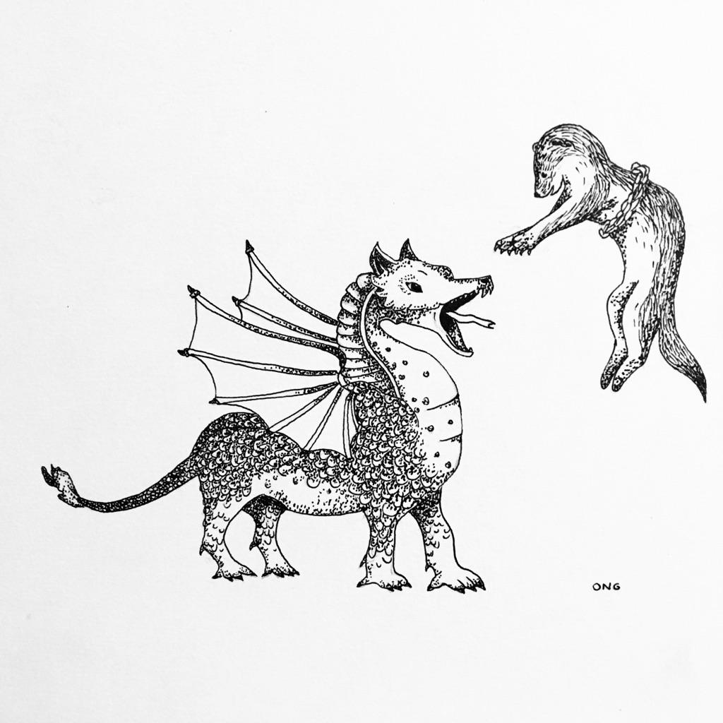 Teckning på drake och hermelin